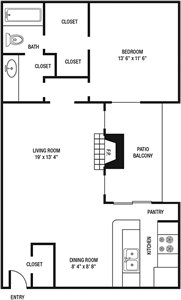 A2 - One Bedroom / One Bath - 810 Sq.Ft.*