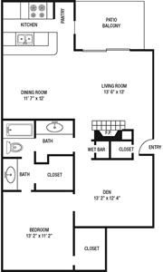 A3- One Bedroom / One Bath - 1,017 Sq.Ft.*