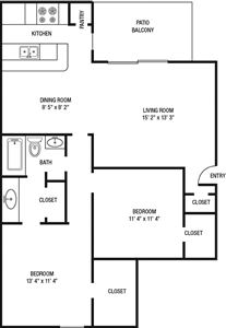 B1 - Two Bedroom / One Bath 961 Sq.Ft.*