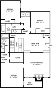 C1 - Three Bedrooms / Two Bath - 1,356 Sq.Ft.*